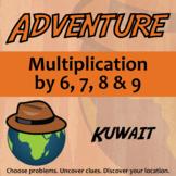 Adventure Math Worksheet -- Multiplication by 6,7,8,9 -- Kuwait