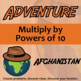 Adventure Math Worksheet -- Multiply by Powers of 10 -- Afghanistan