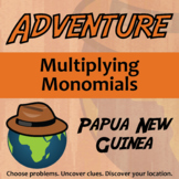 Adventure Math Worksheet -- Multiplying Monomials -- Papua New Guinea