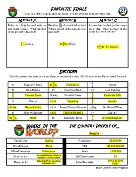 Choose Your Own Adventure -- Percent, Fractions, and Decimals -- Angola