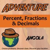 Adventure Math Worksheet -- Percent, Fractions, and Decimals -- Angola