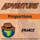 Adventure Math Worksheet -- Proportions -- France