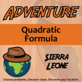 Adventure Math Worksheet -- Quadratic Formula -- Sierra Leone