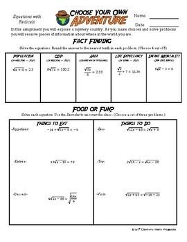 Adventure Math Worksheet -- Radical Equations -- Estonia