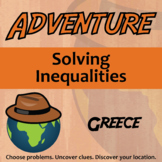 Adventure Math Worksheet -- Solving Inequalities -- Greece
