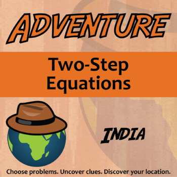 Adventure Math Worksheet -- Two-Step Equations -- India
