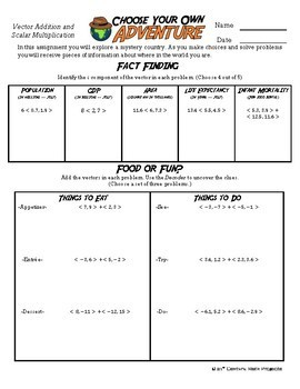 Adventure Math Worksheet Vector Addition Scalar Multiplication