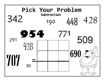 Choose Your Own Subtraction Center