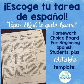 Choose Your Spanish Homework: ¿Qué te gusta hacer?