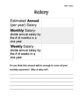 Choose a Career Math Project