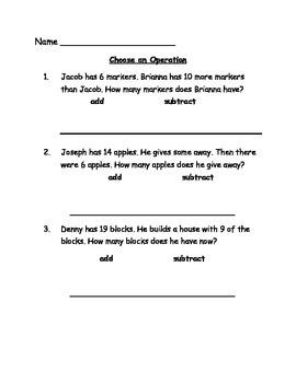 Choose an Operation Math Worksheet