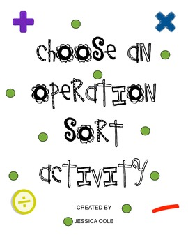 Choose an Operation! Word Problem Sort Activity CCSS
