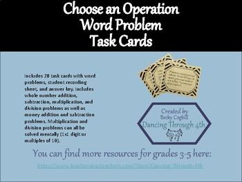 Choose an Operation Word Problem Task Cards - simple math