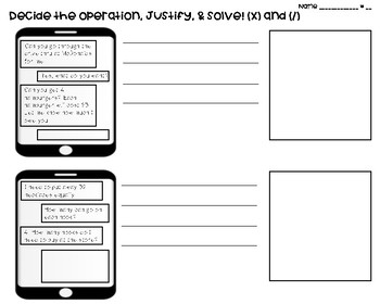 Choose (and justify) the operation MULTIPLICATION / DIVISION