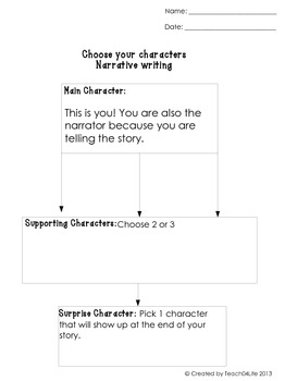 Choose characters for writing- graphic organizer