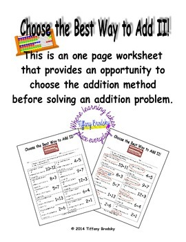 Choose the Best Way to Add II! Choose Use a Double, Make A