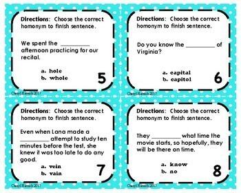 Choose the Correct Homonyms/Homophones