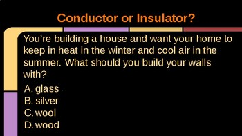 Choose the Material- Conductor or Insulator Game