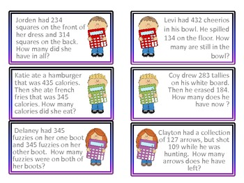 Choose the Operation Math Game (2,3,4 Digit Word Problems)