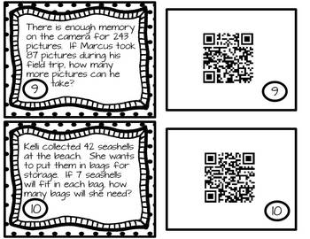One-Step Word Problems for All 4 Operations with QR Codes