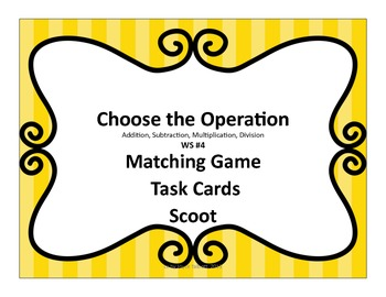 Choose the Operation Task/Matching/Scoot Cards #4