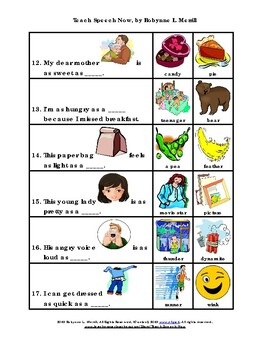 Do You Know Your Similes? -- Fill in the Blank Sentences