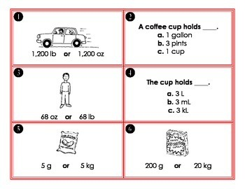 Measurement Task Cards: Choose the more reasonable unit of measure (23 cards)