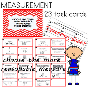 Measurement Task Cards: Choose the more reasonable unit of