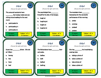 Choose the right verb form TASK CARDS