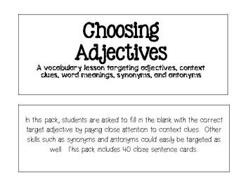 Choosing Adjectives