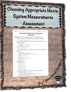 Choosing Appropriate Measurement of Length Assessment  (Metric System)