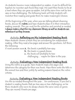 Choosing Books Independently: Rubric and Activities