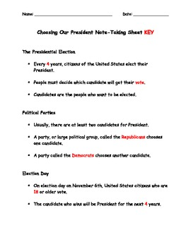 Choosing Our President Note-Taking Sheet