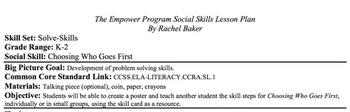 Choosing Who Goes First - Social Skills Lesson Plan