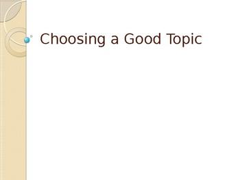 Choosing a Good Topic