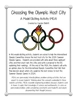 Choosing a Host City for the Olympic Games MEA (Model Eliciting Activity)