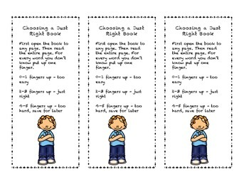 Choosing a Just Right Book - Bookmark