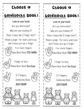 Choosing a Just Right Book Bookmark Freebie!