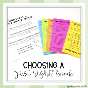 """Choosing a """"Just Right"""" Book Poster & Student Bookmarks"""