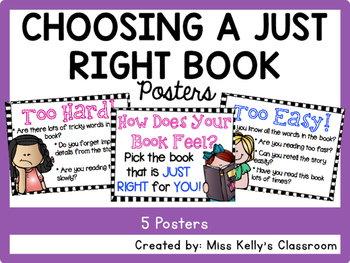Choosing a Just Right Book Posters