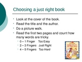 Choosing a Just Right Book Powerpoint