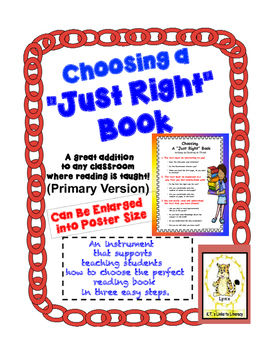"""Choosing a """"Just Right"""" Book -Primary Version"""
