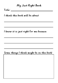 Choosing a 'Just Right' Book Worksheet