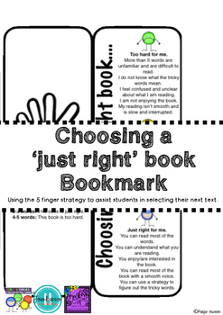 Choosing a Just Right book: Bookmark.