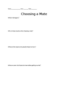 Choosing a Mate Worksheet