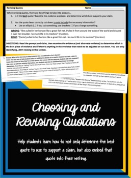 Choosing and Revising Quotes