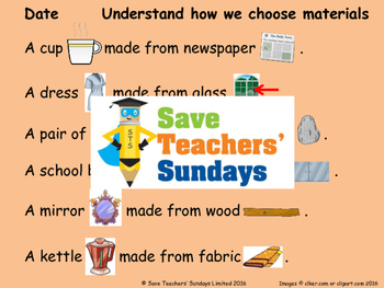 Choosing materials Lesson plan, PowerPoint and Worksheet
