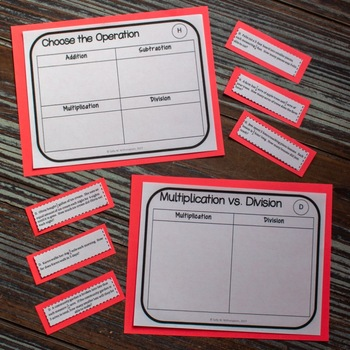Choosing the Operation, Fraction Word Problem Sorting Game, Includes 10 Versions
