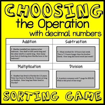 Choosing the Operation Game, Decimal Word Problem Sorting Game, Math Center