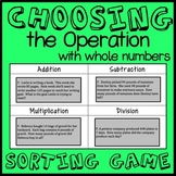 Choosing the Operation Game, Whole Number Word Problem Sorting Game